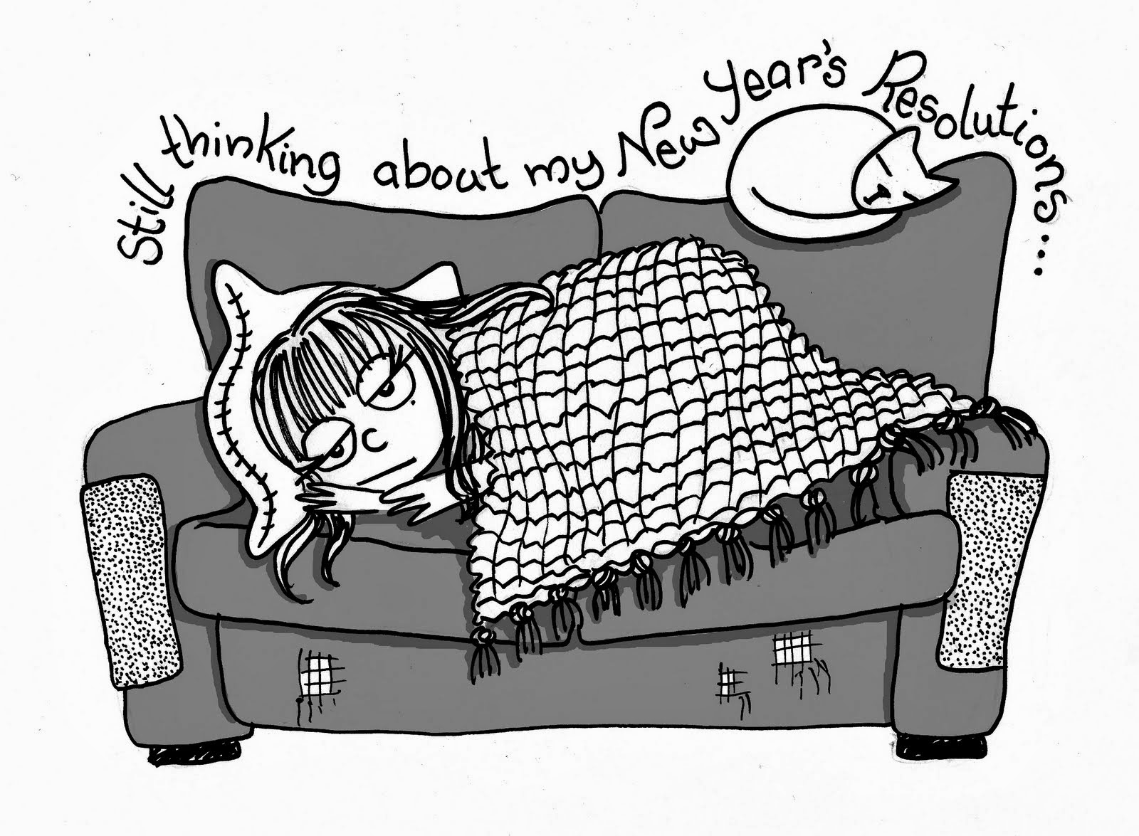 Woman on couch thinking about New Year resolutions