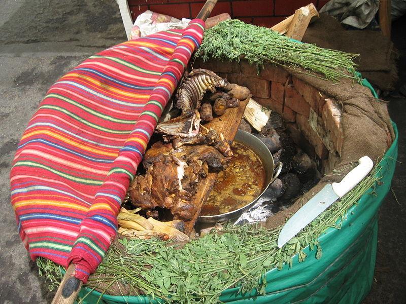 Foto de la Pachamanca en un horno traducional