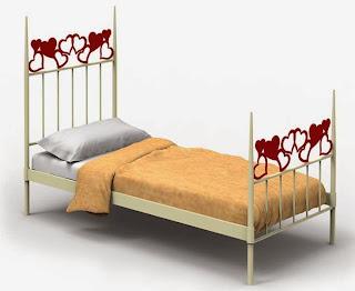 cama de forja corazones, cama decoración forja
