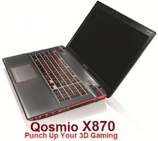 Laptop Gaming 3D Toshiba Qosmio X870 Berbasis Intel Ivy Bridge