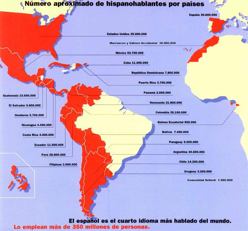 idioma mas extenso espanol ingles: