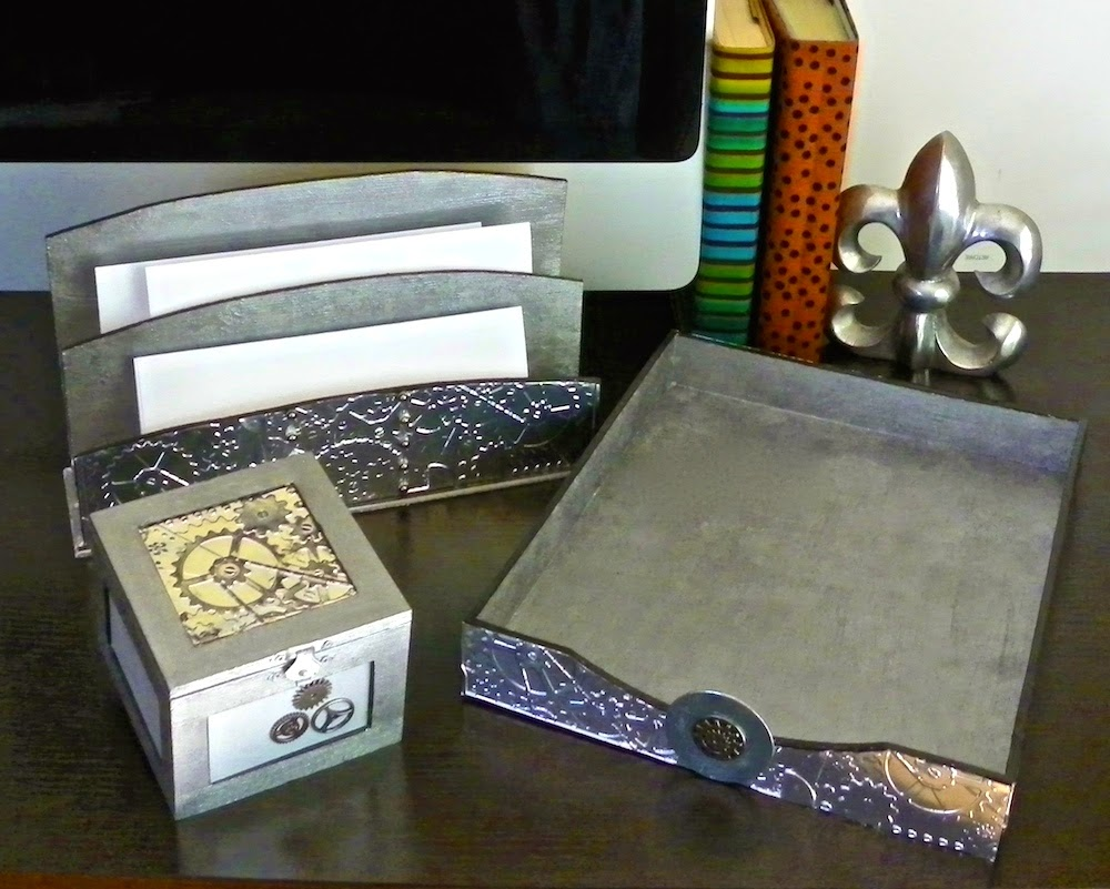 steampunk metal embossed file trays