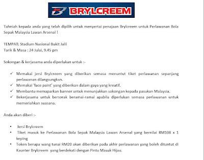 Brylcreem Arsenal vs Malaysia 2012 T&C