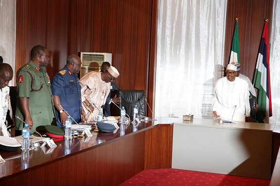 buhari meeting military chiefs