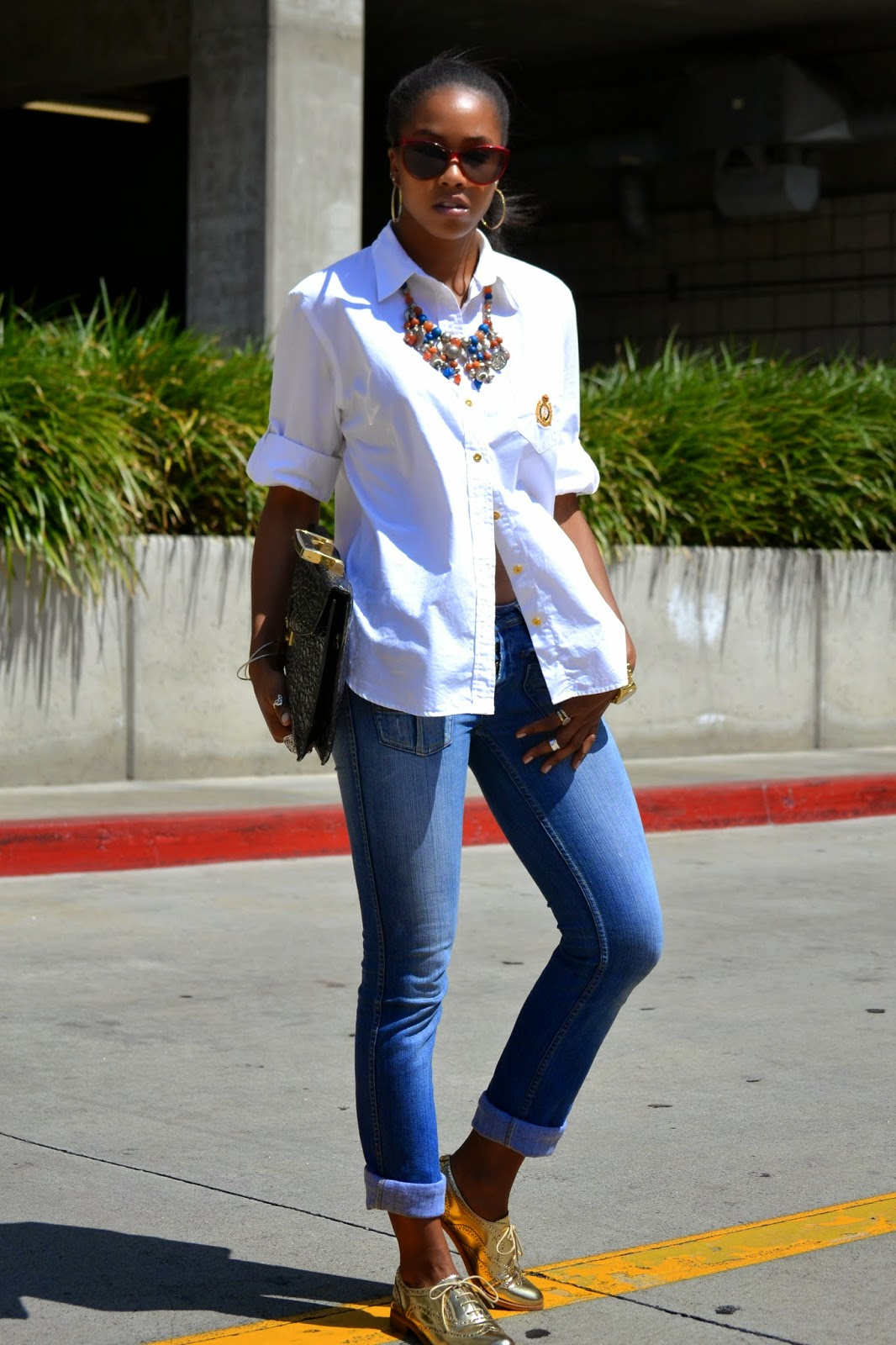 how to wear a Ralph Lauren button down with metallic oxfords