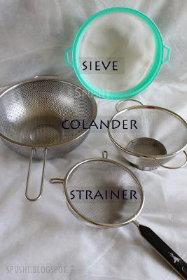 types of metal strainers, sieves, mesh, and colanders
