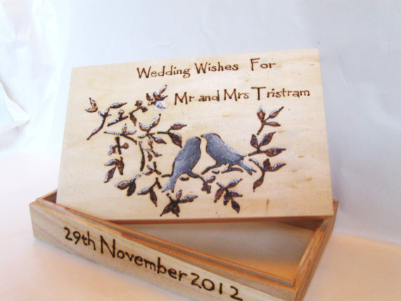 This wedding wishes box is just delightful The artist will personalize it