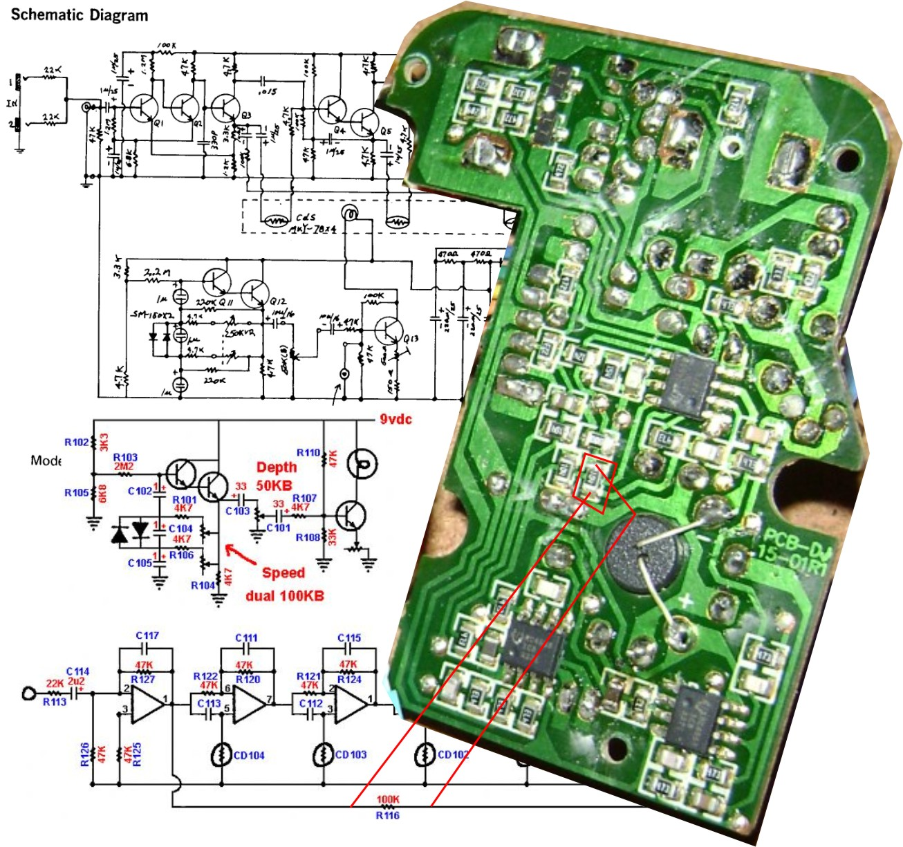 Mobila Enheten Danelectro Chicken Salad True Bypass Mod Board Wiring Schematic And By Bypassing This 100k Resistor You Get A Vibrato Effect Add An Spdt Switch To Go Between Chorus Mode
