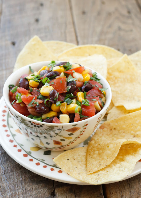 Classic Black Bean Salsa with options for canned or fresh ingredients! get the recipe at barefeetinthekitchen.com