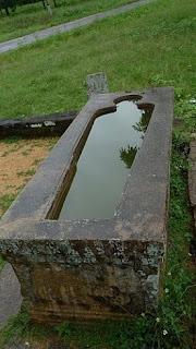Mihintale, Sri Lanka, granite stone sarcophagus bath tub, ancient hospital