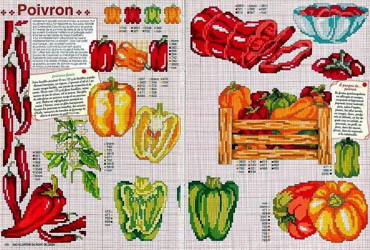 Схема вышивки крестом фрукты или овощи 538