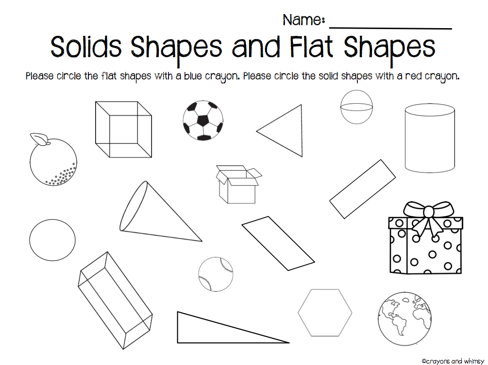 flat and solid shapes kindergarten math geometry crayons and whimsy