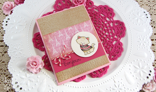 Paris Cat Love Card by Jennifer Jackson | Newton Dreams of Paris Stamp set by Newton's Nook Designs