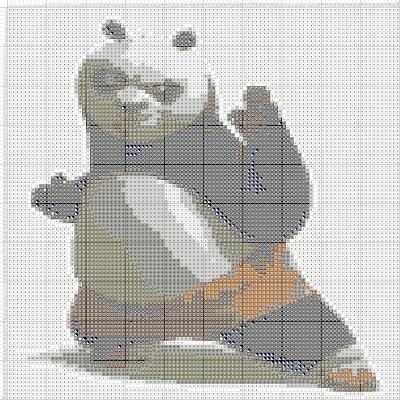 Gambar Pola Kristik Po - Kung Fu Panda
