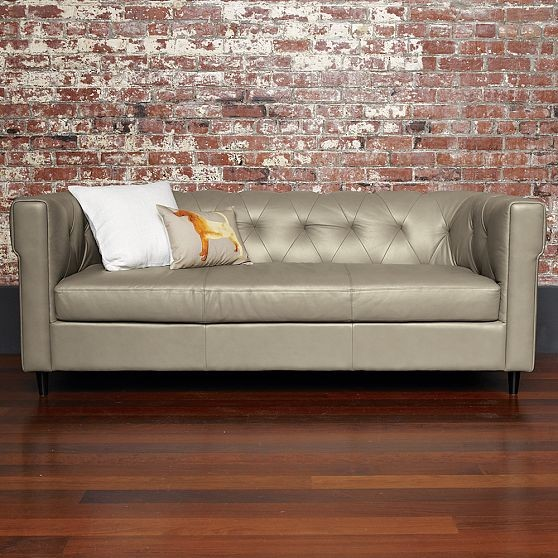 black and grey leather sofa tufted upholstered tanned hamilt