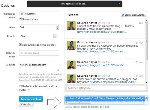Código del Widget de Twitter: