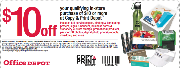 Bargain is the new black printable coupon office depot 10 off 10 of copy and print services - Office depot business coupons ...