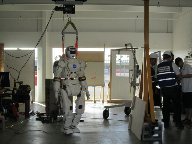 NASA's R5 robot in the team's garage. R5 was built by engineers at NASA's Johnson Space Center in Houston. Photo Credit: NASA