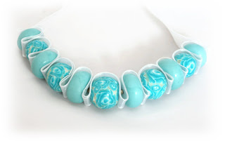 Turquoise Rose Ribbon Necklace handmade from polymer clay by Lottie Of London