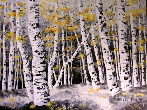 winter birch tree painting