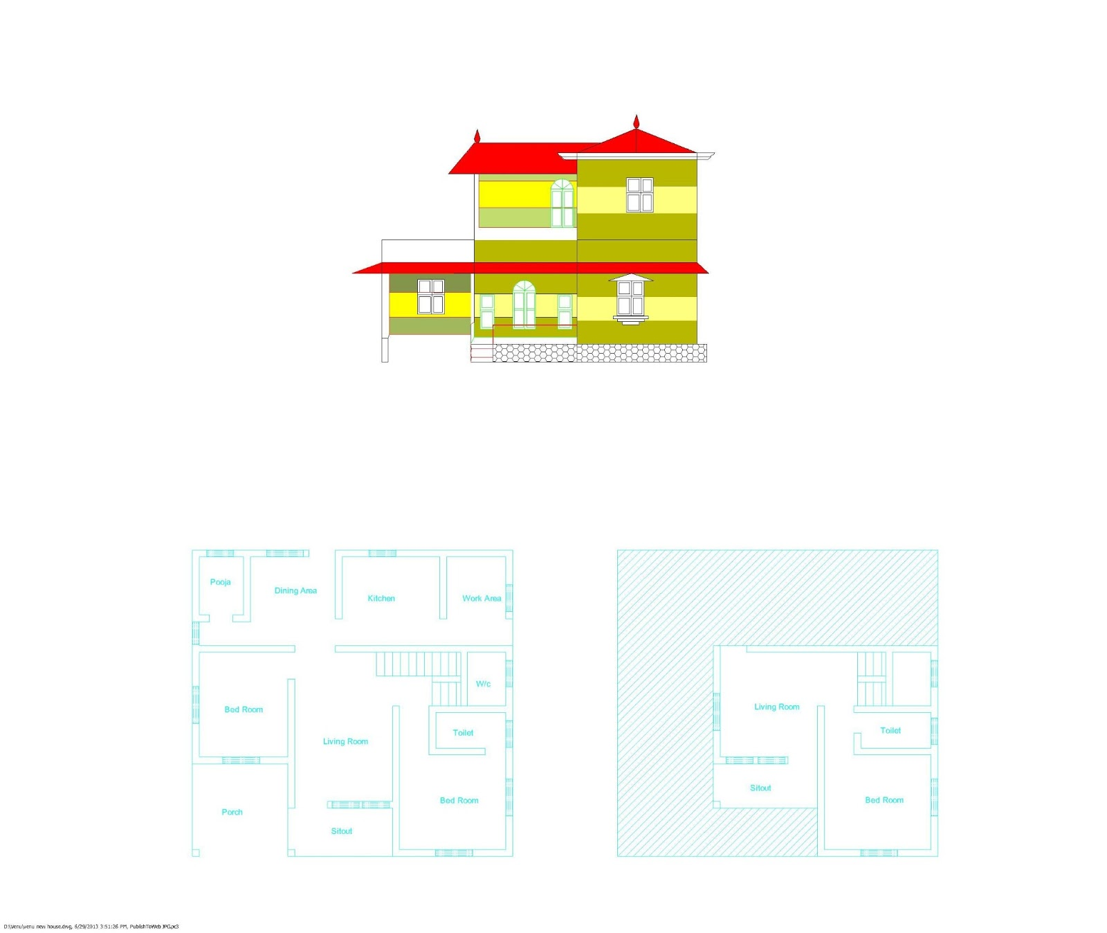 Ente veedu kerala style plan elevation for Veedu plan and elevation