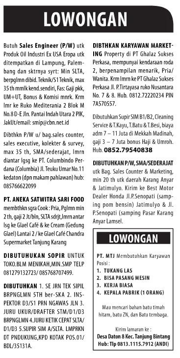 Lowongan Kerja Koran Harian Lampung Post Kamis 25 Desember 2014.