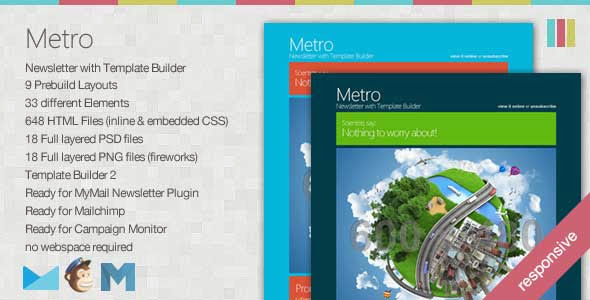 Metro – Responsive Newsletter with Template Builder