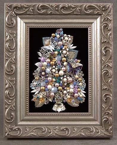 Vintage Jewelry Tree Art Assemblage In Silver And Purple