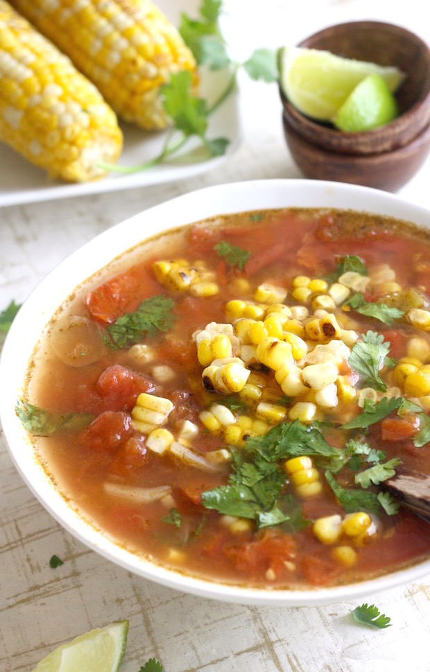 Thai Tom Yum Soup with Grilled Corn by SeasonWithSpice.com