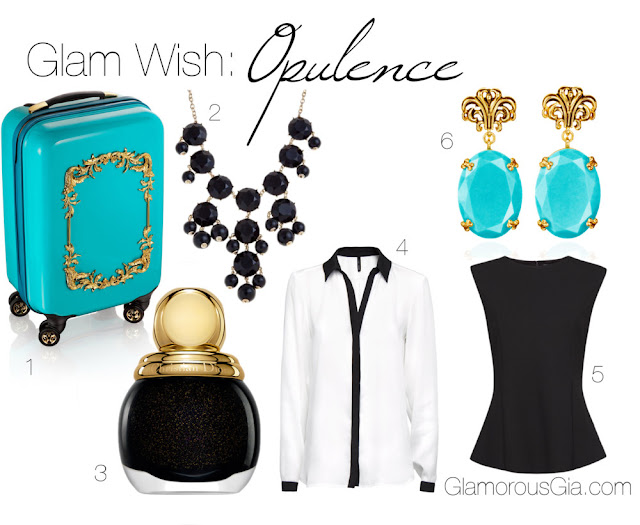 Opulence Glam Wish list: 1. Anna Dello Russo at H&M turquoise trolley EUR 149 at H&M | 2. Black statement necklace EUR 11.99 at New Look | 3. Dior diorific vernis in the shade Diva EUR 26 at Feelunique | 4. Contrasted shiny shirt EUR 29.95 at Mango | 5. Knit peplum top EUR 29.95 at Mango | 6. Anna Dello Russo at H&M baroque earrings EUR 19.95 at H&M