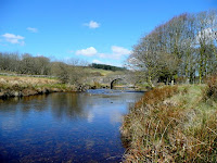 West Dart River at Two Bridges Looking north towards the old bridge on a sunny March afternoon.