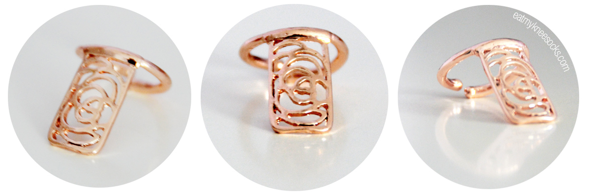 Details on Born Pretty Store's golden floral cutout nail ring.