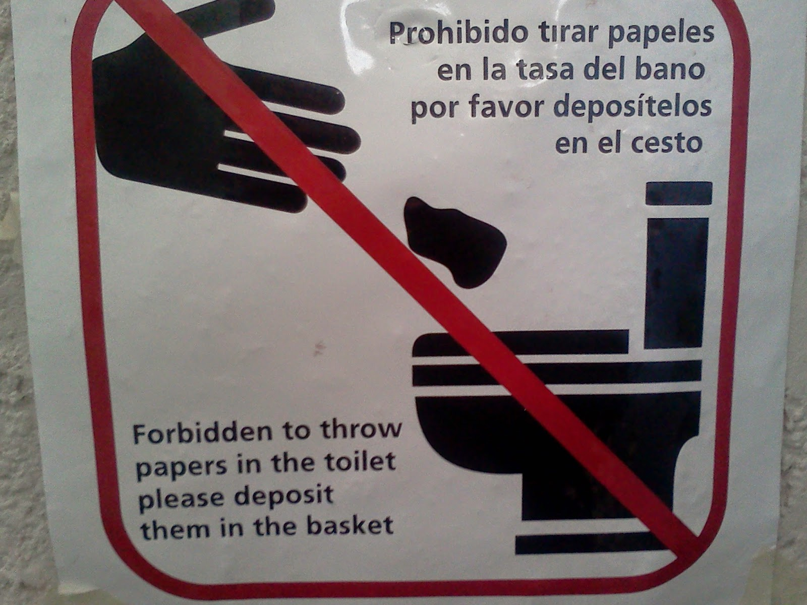 Forbidden to throw papers in the toilet please deposit them in the basket.