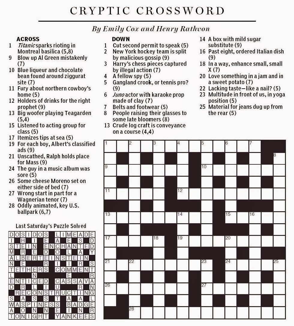 National Post Cryptic Crossword Forum Saturday March 14 2015 Sporting The Green
