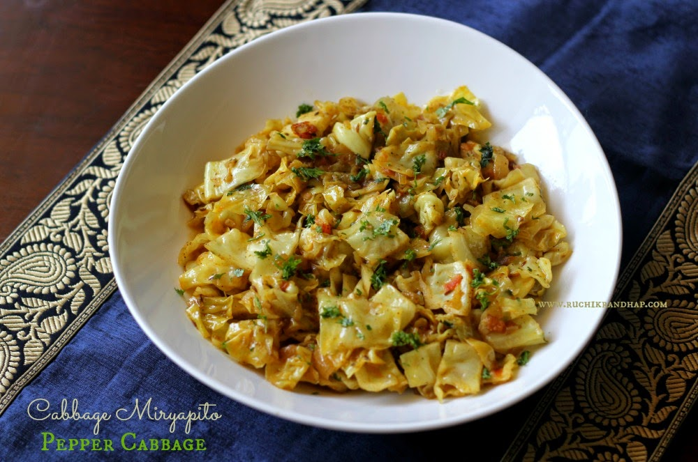 cabbage miryapito ~ mangalorean catholic style pepper cabbage (using stew powder)
