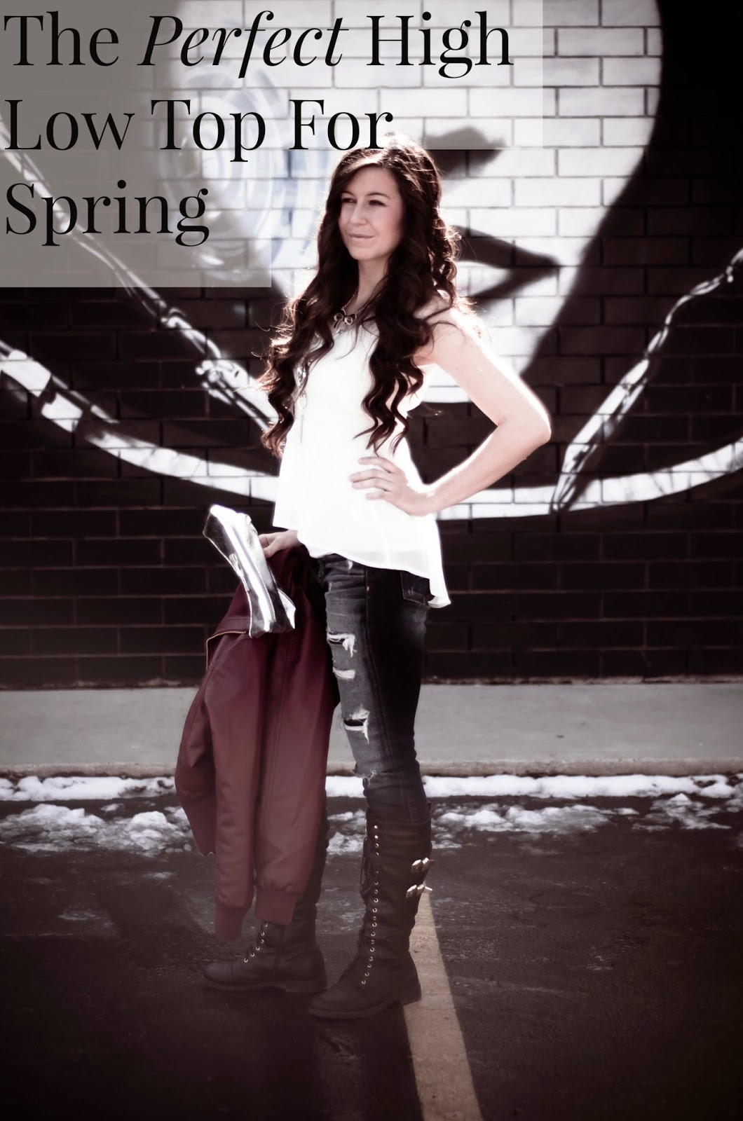 """""""The Perfect High Low For Spring"""", cute way to wear a summer top, high low top, destroyed denim, american eagle destroyed denim, pinkbasis peplum top, pinkbasis top, summer v-neck top, summer top, spring to summer transition outfit,"""