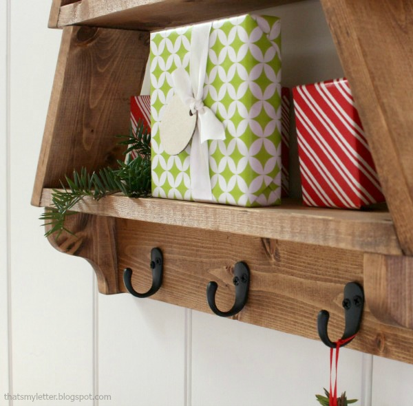 wall shelf Christmas decor with hooks