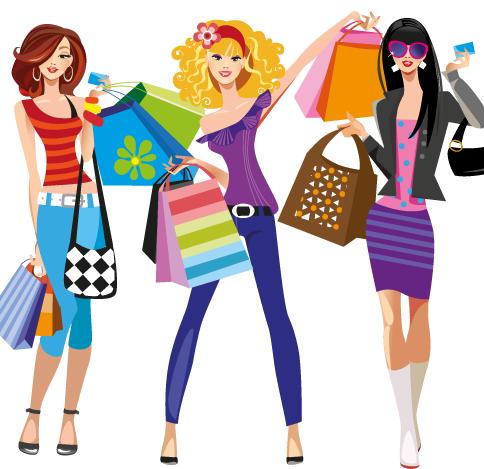 compras de moda - vector