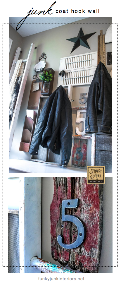 Wall art with junk for coats - a unique entryway by FunkyJunkInteriors.net
