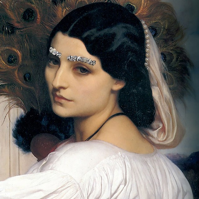 """Brow Down."" Original: Pavonia by Frederic Leighton. Added: Chanel jewelled eyebrows from A/W 2012-13 show"