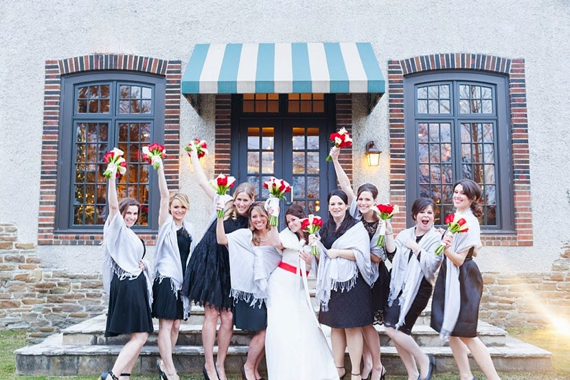 big bridal party photo