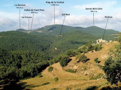 Vista de Postius i de la vall de L'Estany