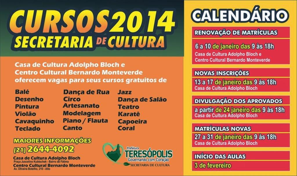 Inscrições dos cursos da Secretaria de Cultura de Teresópolis na próxima semana