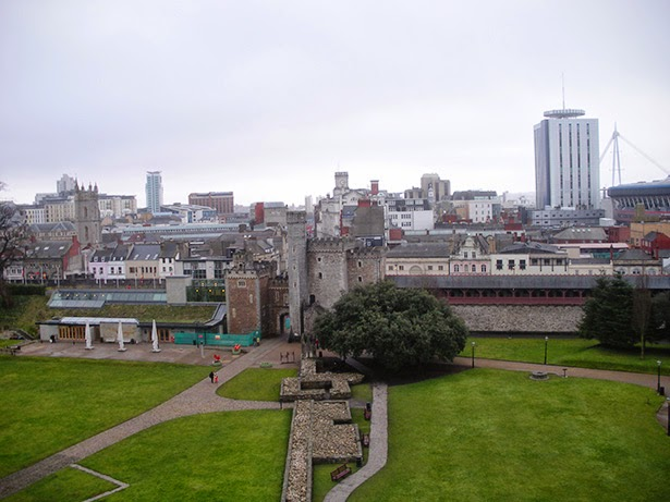 The view from Cardiff Castle in Cardiff, Wales