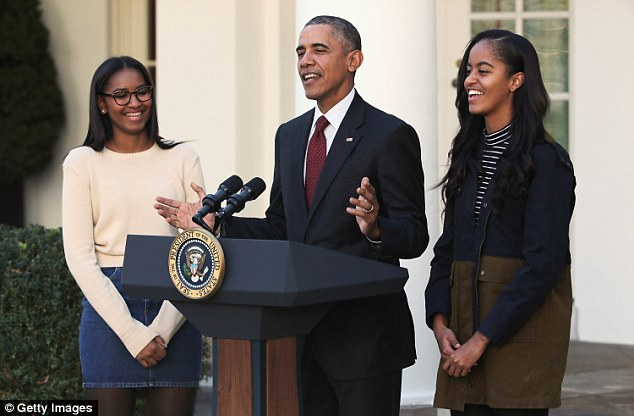 Sasha & Malia Obama's Adorable Thanksgiving Pardon Outfits