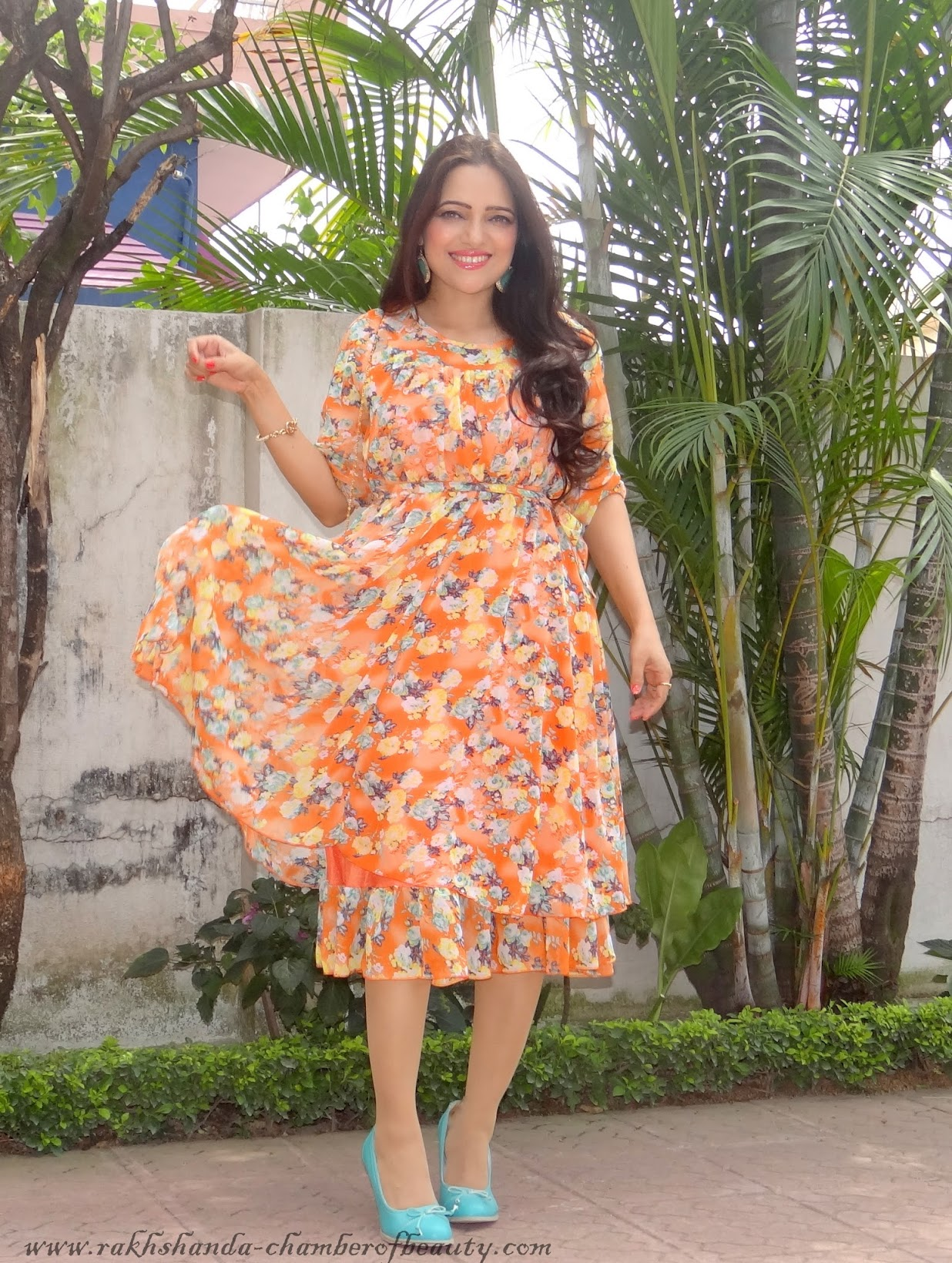 Floral Tangerine- OOTD | How to style a floral dress in summers, wsdear.com, OOTD, Indian fashion blogger, Chamber of Beauty