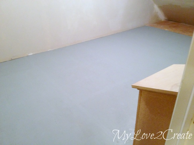 two coats of bottom color porch and floor paint on subfloor