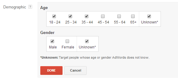 Target people whose age or gender is unknown