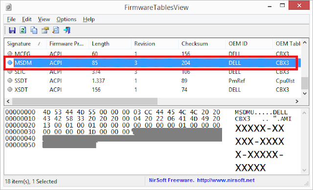 Vista firmwaretablesview