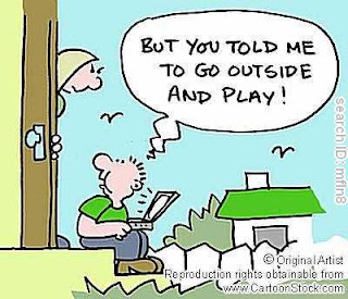 a cartoon of a child playing on his laptop on the front porch because his mother told him to play outside.